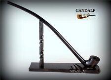 "TOBACCO SMOKING PIPE + STAND Lotr Gandalf Hobbit CHURCHWARDEN LONG 14""   Black"