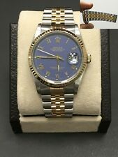 Rolex Datejust 16233 Purple Dial 18K Yellow Gold Stainless Steel Mint Condition