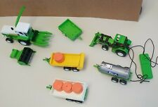 New Ray Green Plastic Farm Motor Tractors 2 Lot With 4 Implements Read