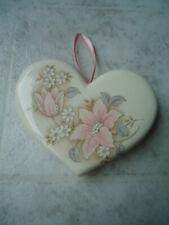 Cream Colored Ceramic Heart Shaped Floral Pomander Potpourri Sachet 3 ½� X 4� X