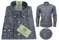 Relco Men's Paisley Grey Silver Long Sleeved Button Down Premium Cotton Shirt