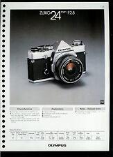 Factory 1978 Olympus Zuiko 24mm F2.8 Camera Lens Dealer Data Sheet Page