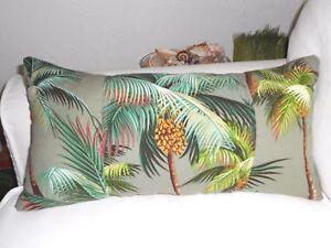 Tropical Hawaiian 100% Cotton Barkcloth Fabric LUMBAR PILLOW ~Palm Trees-Aloe~