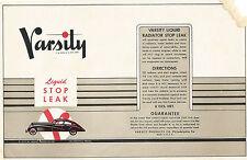 Label-VARSITY Stop Leak,Philadelphia,PA.1940s,1950s.original US=ProductsOverTime