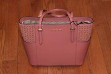 NWT Michael Kors $258 Suede Jet Set Travel Tote Shoulder Handbag Rose/Gold Pink