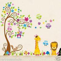 Wandtattoo XXXL Eulen Wald Tiere Wand aufkleber Sticker Kinderzimmer Baby Kinder