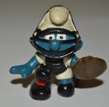 Vintage 1981 SMURFS Peyo Baseball Catcher Rubber Figurine Toy Hong Kong RARE
