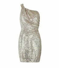 AllSaints Velutina Gold Embellished Beaded Sequin Metallic One Shoulder Dress
