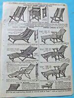 1920 Manufrance Publicité Fauteuil et Chaise longue rotin et osier hamac toile