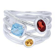 Sterling Silver Rope Design Gemstone Modern Band Ring Topaz Citrine Garnet NWB