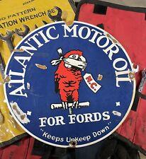 "12"" RARE ATLANTIC MOTOR OIL FOR FORDS PORCELAIN GAS ⛽️STATION PUMP SERVICE PLATE"