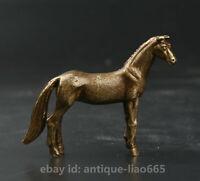53MM Small Curio China Bronze Lovable Animal 12 Zodiac Year Horse Pendant Statue