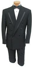 New 46S Mens Black Oscar de la Renta Tuxedo Jacket Double Breasted La Vida Mason