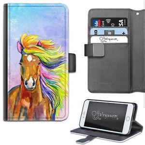 Watercolour Rainbow Horse Deluxe PU Leather Wallet Phone Case, Flip Case