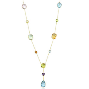 14K Yellow Gold Y Style Necklace With Multi-Color Gemstones 16 Inches