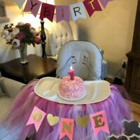 Baby 1st Birthday High Chair Tutu Skirt Tulle Table Skirt Party Decoration BL3
