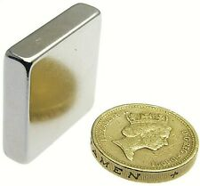 "Very Strong Magnets  1"" x 1"" x 1/4"" Powerful * 12Kg Pull * Block Magnet 25mm big"