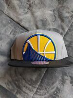 Golden State Warriors Mitchell & Ness NBA Snapback Hat Cap Light Grey NEW***