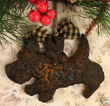 Scottish Terrier Scottie Dog Blackened Beeswax Cinnamon Folk Art Ornament Prim