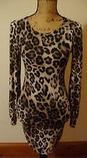 Mignon, sexy New look léopard robe moulante-taille 6-Tan & Noir-UE 36