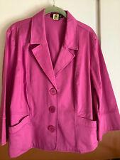 TRIBELLA Pink Cotton 3/4 Sleeve 3-Button Short Blazer Jacket Ladies 16