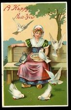 Jersey New Year Greeetings Girl Chromo Litho Embossed PPC for XMAS day delivery