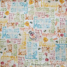 BonEful FABRIC FQ Cotton Quilt Bee Hive Honey Country Fruit Veggie Farm Market S
