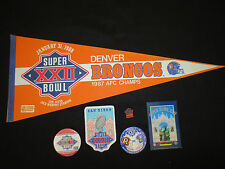 DENVER BRONCO'S NFL OFFICAL  SUPERBOWL XXII PENNANT, 2 BUTTONS, PATCH & PIN,
