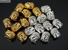 Solid Metal Buddha Shakyamuni Head Bracelet Connector Charm Beads Silver Gold