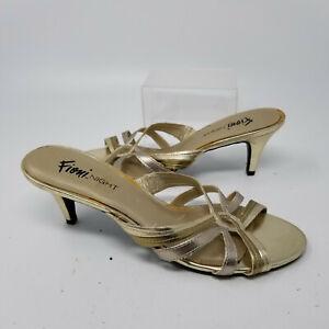 Fioni Night Gold Faux Leather Strappy Kitten Heel Open Toe Shoes Women Size 8