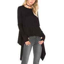 Women's Fashion Long Sleeve T Shirt Asymmetrical Blouse Tee Casual Tops Black S