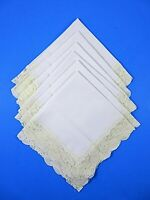 Vintage 1950s White Fabric Napkins Hand Made Set Of 6 Lace Edged 15X15 Inches