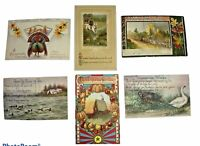 Lot of 6 Vintage THANKSGIVING Postcards 1909-1916 Brightly Colored Embossed