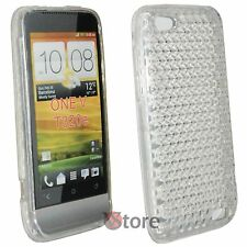 Cover for HTC ONE V Clear Diamond Silicone Gel + Film