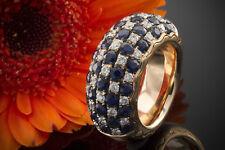Schmuck Designer Ring mit 4 CT Saphir & Brillanten in 750er Rotgold Größe 54