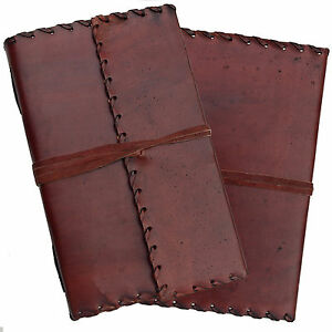 """9"""" Handmade Leather Journal Diary Sketchbook with Stitch Detail Handmade Paper"""