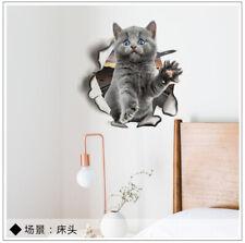 Vinyl Decal cute 3D Cat Bedroom restroom Toilet Refrigerator Wall Sticker gray