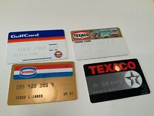4 Vtg 1980s Gas Oil Credit Cards From Sohio, Texaco, Gulf