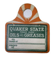 Vintage Quaker State Motor Oil Auto Service Tag New Old Stock Gas & Lube Dates