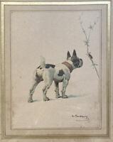 Animalier Chien Bouledogue Français Peinture sign Charles F De Condamy 1847-1913