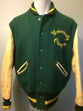 Vtg Wool Leather Letter Jacket Oregon College Varsity Lettermans 50s Club Mens