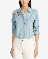Lauren Ralph Lauren Petite Cotton Chambray Shirt - Sun Faded Wash Sz PXS $145