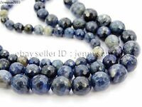 Natural Blue Jasper Gemstone Faceted Round Spacer Beads 15'' 4mm 6mm 8mm 10mm