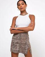 MOTEL ROCKS Sheny Skirt in Croc Neutral Grey    (mr61)