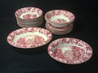 "Vtg WOODSWARE Enoch Woods Red ""English Scenery"" Plates/Bowls  ca 1917+"