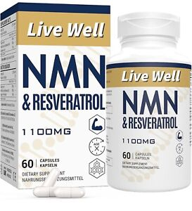 LIVEWELL NMN+Resveratrol 60 Capsules, Heart & Anti-ageing Antioxidant Supplement