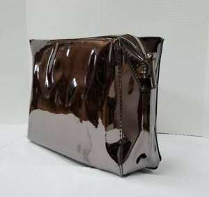 20 X LANCOME GLOSSY METALLIC BROWN MAKEUP COSMETIC PURSE CLUTCH BAG 9*6*3 INCH