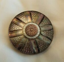 Silver and Carved Mother of Pearl Wheel Brooch/Pendant