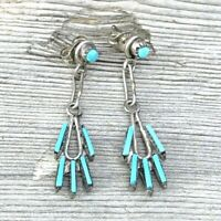 ZUNI Sterling Silver Turquoise NEEDLEPOINT Dangle Dainty Small Earrings Vintage