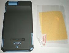 Dual layer hybrid hard case for Motorola DROID X MB810, Matte Gray & Light Blue